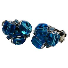 Sky Blue Faceted Bead Glass Clip Earrings Japan