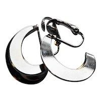 Silver Tone Double Hoop Earrings Clips