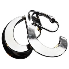 Silver Tone Double Hoop Earrings Clips