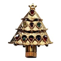 Christmas Tree Gold Tone Rhinestone Pin