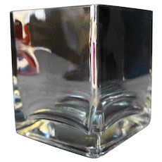 Silver Mirrored Square Heavy Glass Vase