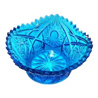 LE Smith Laser Blue Hobstar Arches Sawtooth Rim Bowl