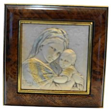 Asa Linea Italy Sterling Madonna Child Burl Wood Rosary Box