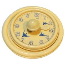 Vintage Early Plastic Cream Clock Medicine Timer Drink Cover
