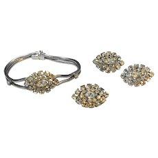 Sterling Rhinestone Bracelet Earrings Pin/Pendant
