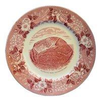 Plymouth Rock Red Transferware Souvenir Plate Jonroth Adams Old English Staffordshire