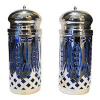 Silverplated Ornate Filigree Cobalt Blue Glass Liner Salt Pepper