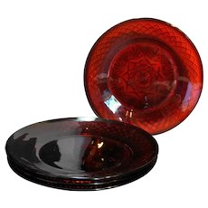 Cristal d'Arques JG Durand Antique Ruby Red Lunch Plates Set of 4