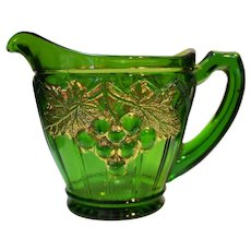 Northwood Grape and Gothic Arches Emerald Green Gold Creamer EAPG