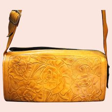 Tooled Leather Roses Mexico Purse Shoulder Bag
