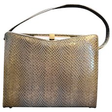 Life Stride Grey Simulated Snakeskin Leather Structured Purse