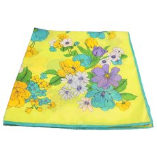 Nasharr Freres Yellow Green Floral Polyester Scarf