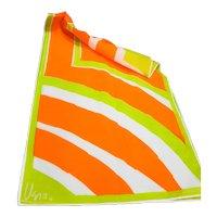 Vera Orange Green White Diagonal Stripe Chiffon Polyester Scarf