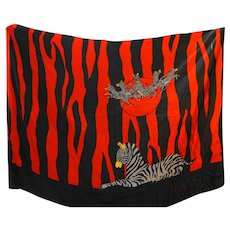 Gant Gaither Zebras Red Black Stripe Large Silk Scarf