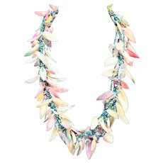 Pastel Dyed Shell Necklace Chunky Turquoise Pink Blue Green Beads