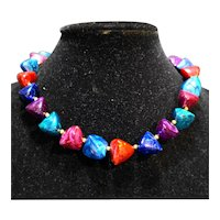 Blue Green Pink Purple Triangle Nugget Chunky Necklace