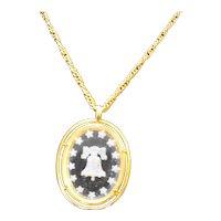 Crown Trifari Liberty Bell Crystal Intaglio Necklace