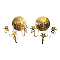 Brass Plated Triple Light Candle Sconces Pair