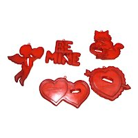 Amscan Red Translucent Plastic Cookie Cutters Valentines Cat
