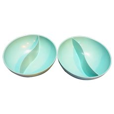 Turquoise Green Melmac Divided Bowls Pair