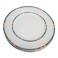 Alfred Meakin White Floral Embossed Rim Blue Rust Trim MEA463 Dinner Plates