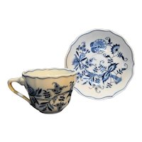 Blue Danube Japan Cup Saucer White Blue Onion Porcelain