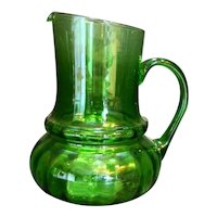 Emerald Green Art Glass Optic Large Pitcher