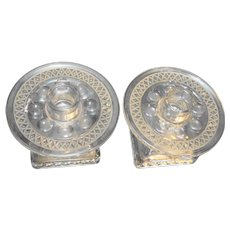 Diamond Band Circle Thumbprint Square Base Clear Candle Holders Pair