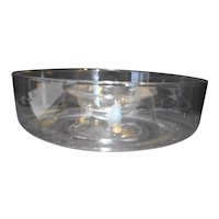 Princess House Heritage Chip and Dip Clear Glass Gray Cut Floral
