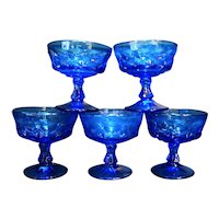 Noritake Perspective Blue Champagne Tall Sherbet Glasses Set of 6