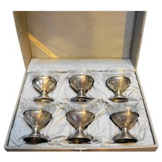 Sterling Silver Etched Glass Sherbet Cups With Box