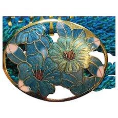 Cloisonne Enamel Flowers Blue Green Turquoise Buckle Silk Rope Belt