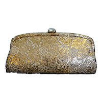 Gold Brocade Vintage Clutch Purse