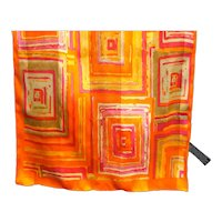 Orange Pink Yellow Geometric Squares Long Scarf Korea Polyester Satin Chiffon