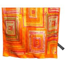 Orange Pink Yellow Geometric Squares Long Scarf Korea Polyester Satin Chiffon
