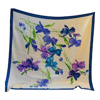 Iris Watercolor Jacquard Huge 42 IN Scarf White Blue Purple