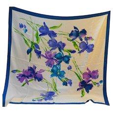 Iris Watercolor Jacquard Huge 42 IN Scarf White Blue Purple