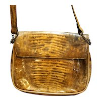 Industria Argentina Cuero de Lagarto Lizard Skin Leather Shoulder Bag Purse Diagonal Pleats