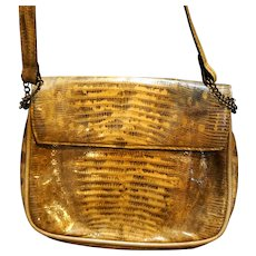 Industria Argentina Cuero de Lagarto Lizard Skin Leather Shoulder Bag Purse Diagonal Pleats