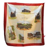Wien Vienna Souvenir Travel Scarf Yellow Red Border