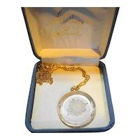 Hallmark Little Gallery Glass Reverse Carved Flower Intaglio Necklace