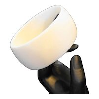 White Lucite Wide Oval Bangle Bracelet