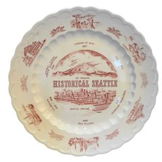 Vernon Kilns Historical Seattle Red Transferware Plate