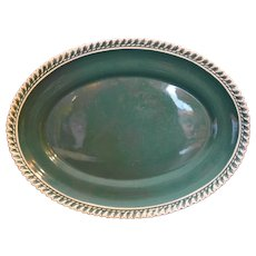 Harker Corinthian Teal Green Gadroon Edge Oval Platter