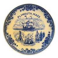 Plymouth Massachusetts Blue Transferware Souvenir Plate
