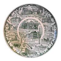 Lancaster County Green Transferware Souvenir Plate Kettlesprings Kilns