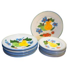 Himark Portugal Hand Painted Fruits Pottery Dishes Set 12 Pieces