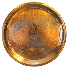 Floral Etched Copper Round Tray 12 IN