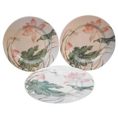 Fitz and Floyd Lotus Garden Salad Plates Set of 3
