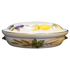 Royal Worcester Evesham Gold 10 IN Oval Entree Casserole